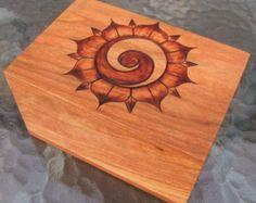 Paraguay pyrography   ... Yang Lotus Blossom Flower Pyrography Woodburning on Cherry Wood Box