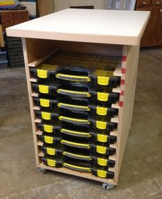 Let's take a look at some of the options for storing small parts in the shop.
