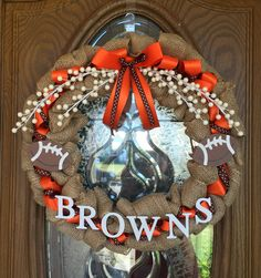 Designs and images are property of Loving Home Creations ©. DO NOT COPY.  Cute Cleveland Browns NFL Burlap Wreath by LovingHomeCreations on Etsy