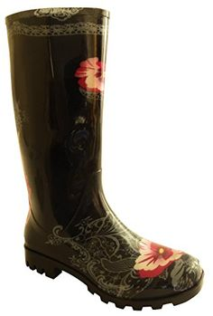 Stylish Womens Rain Boots Women's Water Shoess High Leg With Cute Pattern Tyc101 >>> Want additional info? Click on the image.