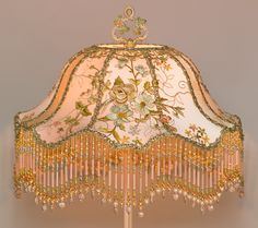 Lit Pink Victorian Lampshade with Antique English Embroidery