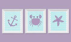 Purple and Aqua Nursery Art Nautical Nursery Chevron Ocean Decor Sailboat Crab Anchor Lavender Polka Dots Girls Room Decor 8 x 10 or 11 x 14