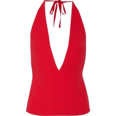 Gareth Pugh Crepe halterneck top ($360) ❤ liked on Polyvore featuring tops, red, zipper top, tie neck halter top, red necktie, red top and plunge halter top