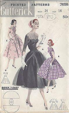 """Años 50 Vintage patrón De Costura Vestido B3-4 """" (r73)"""