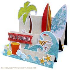 Paradise Beach Hello Summer Card - Echo Park Paper Co. Boy Cards, Kids Cards, Cute Cards, Fancy Fold Cards, Folded Cards, Side Step Card, Stepper Cards, Nautical Cards, Beach Cards