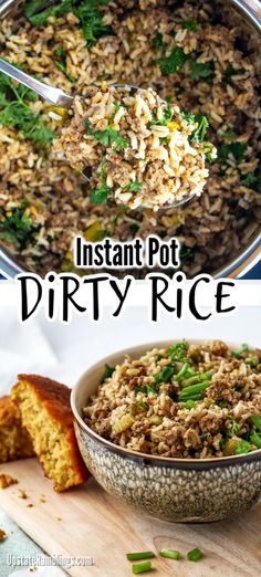Quick & easy dinner idea - made with ground beef instead of chicken liver - Instant Pot Dirty Rice is an easy one pot family dinner! This Cajun comfort food recipe is made with beef and rice and is ju Dinner Recipes Easy Quick, Instant Pot Dinner Recipes, Quick Easy Meals, Recipes Dinner, Dessert Recipes, Ground Beef Recipes For Dinner, Dinner With Ground Beef, Dirty Rice Recipe With Ground Beef, Ground Beef Rice