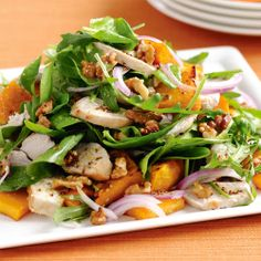 Maple-roasted #pumpkin and chicken #salad