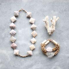 Agate, ocean jasper, natural riverstone and brass