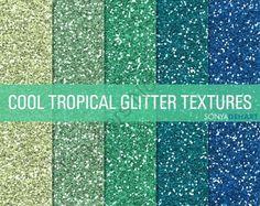 Glitter Digital Paper Textures Cool Tropicals product from SonyaDeHartDesign on TeachersNotebook.com
