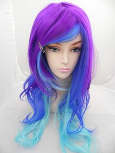 Neon Galaxy / Purple, Dark Clue and Aqua Blue / Long Curly Wavy Layered Wig Cosplay Costume Halloween Ombre. $145.00, via Etsy.