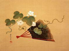 Sakai Hoitsu 酒井抱一 《扇面夕顔図 Fan and Moonflowers. 1820s