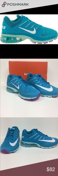 Nike Air Max Excellerate 4 Running Shoe 806798400 Built to take on the miles in comfort and legendary Airmax style. Fly wire technology provides support without extra bulk. Visible max air unit in the heel for iconic cushioning and style. Color is blue Lagoon/white. Brand-new in box Nike Shoes Sneakers