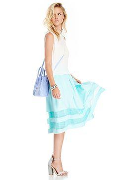 JOA Stripe Lace Pleated Skirt in Aqua XS - L | DAILYLOOK