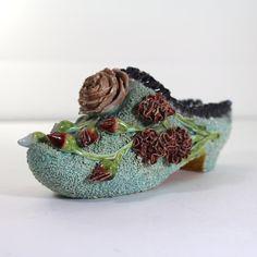 Vintage Sand Majolica Shoe by SugarLMtnAntqs on Etsy