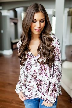 Ivory/Purple Floral Top - Dottie Couture Boutique