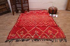 Red Vintage Moroccan Berber 5.5 ft x 8.7 ft Tribal Rug Kilim Moroccan Carpet, Vintage Deco, Hand Woven Rug, Contemporary rug, Morocco carpet
