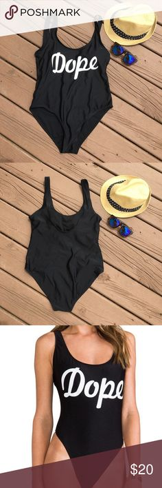 Dope black one piece swim suit Dope one piece swimsuit that is perfect for any beach day! It has a lower back and covers very well in all areas. It also has cup padding. It is a size large. Never been worn. Swim One Pieces