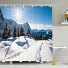 """Ambesonne Winter Panoramic Winter Scenery on Mountain with Sunny Weather and Trees Photo Shower Curtain Set Size: 75"""" H x 69"""" W x 1"""" D"""