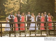 Loved this bridge! Perfect for wedding party pictures! #Sunset #weddingparty #coral #davidsbridal #menswearhouse #summwewedding #miabellacouture #bridalparty #weddingphotography #DrozianPhotoworks