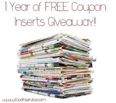 1 Year of Free Coupon Inserts Giveaway! (Ends 1/20)