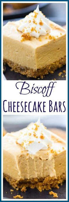 Biscoff Cheesecake Bars - The Gold Lining Girl With a sweet, crunchy, cinnamony Biscoff cookie crumb crust and a creamy, fluffy, no-bake cookie butter cheesecake filling! Biscoff Cheesecake, Biscoff Cookie Butter, No Bake Pumpkin Cheesecake, Biscoff Cookies, Cheesecake Bars, No Bake Cookies, Cheesecake Recipes, Best Dessert Recipes, No Bake Desserts