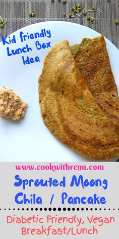 Sprouted Moong Chila or Pancake is a healthy and diabetic friendly breakfast or lunch for grownups and nutritious meal or a finger food for kids. Dairy Free Recipes, Vegetarian Recipes, Healthy Recipes, Vegetarian Breakfast, Vegetarian Cooking, Delicious Recipes, Gluten Free, Keto Friendly Desserts, Diabetic Friendly