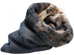 Luxus Hundeschlafsack Hundedecke Pelz + Kaschmir grau-braun