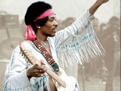Jimi Hendrix at the Woodstock Music Festival.