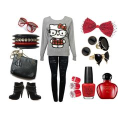 hello kitty nerd outfit, i absolutely adore it <3