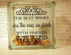 Glass Block Wine Cork Holder / Wine Cork Keeper by HuggerOrangeDesigns on Etsy… Wine Craft, Wine Cork Crafts, Wine Bottle Crafts, Wine Bottles, Wine Glass, Etched Glass, Glass Etching, Glass Cube, Glass Boxes
