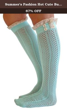Summer's Fashion Hot Cute Buttons Lace Trim Boot Socks for Women, Mint Green. With lace trim and buttons detailing, this pair of boot socks are very hot in our latest boot socks collection. Made of cotton, the lacy boot socks with two buttons are very comfortable and fashionable. If you don't want bulk any more on top of your boots, this cute boot socks are your first choice.