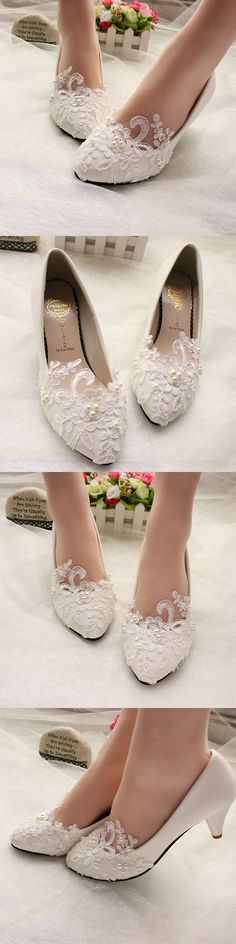 Wedding Shoes And Bridal Shoes: White Ivory Lace Pearl Wedding Shoes Bridal Bridesmades Flats Low High Heel Pump -> BUY IT NOW ONLY: $32.99 on eBay!