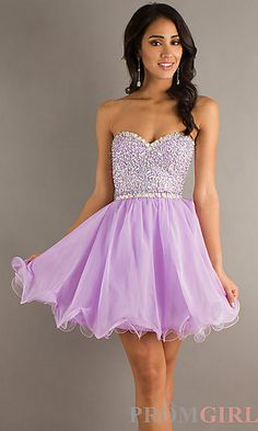 Short Strapless Tulle and Chiffon Dress at PromGirl.com