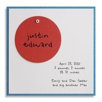 Blue and Brick Swivel Circle Birth Announcement by Luscious Verde