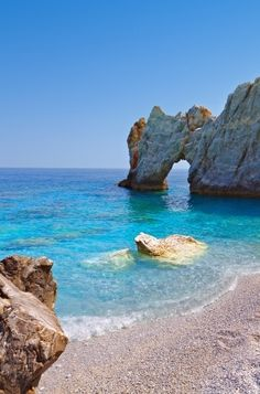 "Lalaria beach ~ Skiathos. Where parts of the movie  ""Clash of the Titans""  movie series were filmed, Greece"
