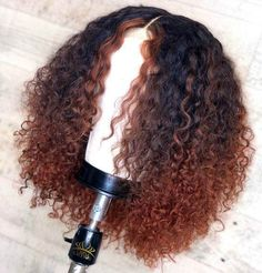 ombre curly human lace front wig