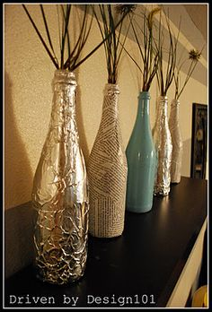 Wine Bottle Crafts Ideas: Chandelier Lights and Lamps DIY. Tools For Wine Bottle Selling in the Lowest Price. Wine Bottle Vases, Glass Bottle Crafts, Diy Bottle, Empty Liquor Bottles, Glass Bottles, Vodka Bottle, Altered Bottles, Painted Wine Glasses, Bottle Painting