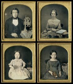 Familygroup.. father mother and two children America ca .1850
