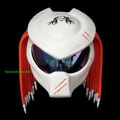 Predator Inspired Custom Motorcycle Helmet Street Bike Helmets, Cool Motorcycle Helmets, Cool Motorcycles, Street Bikes, Bicycle Helmet, Predator Helmet, Motorbike Design, Helmet Design, Motorbikes