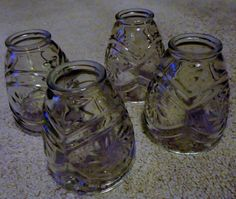 Set 4 Vintage Clear Cut Glass Heavy Thick Light by LoveVintageCo, $15.00