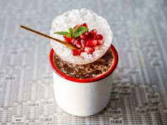 Crushed ice shaped in a glass bowl for garnish