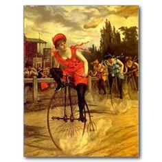 LADIES VINTAGE BIKE RACING BICYCLE RACE POSTCARDS
