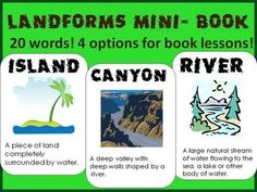 Landforms, landforms, landforms!Make a mini book to teach about landforms!Included in this product are 4 different ways to help kids learn and visualize different landforms. 20 landforms are included: Mountain, Hill, Pond, River, Cave, Island, Valley, Lake, Canyon, Beach, Waterfall, Glacier, Plain, Volcano, Meander, Floodplain, Delta, ArchipelagoCheck out the pictures to see the different options for lessons- great for differentiating!If you like this mini book- check out these!Simple ...