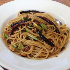 Kung pao spaghetti @cpk...totally get it with shrimp!