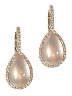 Rose quartz teardrop & diamond earrings