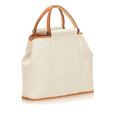 Hermes White Canvas Elan | From a collection of rare vintage top handle bags at https://www.1stdibs.com/fashion/handbags-purses-bags/top-handle-bags/