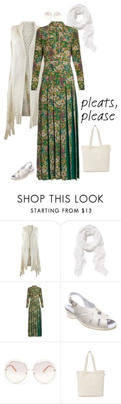 """""""Outfit 507"""" by chicagomuslima ❤ liked on Polyvore featuring Old Navy, Gucci, Spring Step, Chloé, BAGGU, pleats, pleateddress, maxistyle, outfitsfortravel and pleatedmaxidress"""