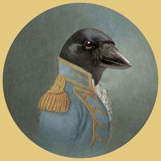 Anthropomorphic crow by Juan Oficio Portrait Art, Pet Portraits, Mouse Deer, Critters 3, Victorian Portraits, Raven Art, Crows Ravens, People Art, Fantastic Beasts