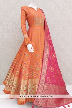 Gorgeous Light Orange Pure Silk Indian Designer Outfit With Work - Light orange designer pure silk indian outfit from palkhi fashion Lehenga Designs, Kurta Designs, Kurti Designs Party Wear, Designer Anarkali Dresses, Designer Party Wear Dresses, Indian Designer Outfits, Indian Outfits, Indian Designers, Outfit Designer