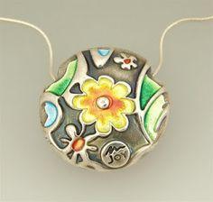 Joy Funnel - fabulous enamelling on silver clay.